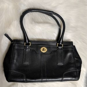 Coach Hampton Black Leather Satchel